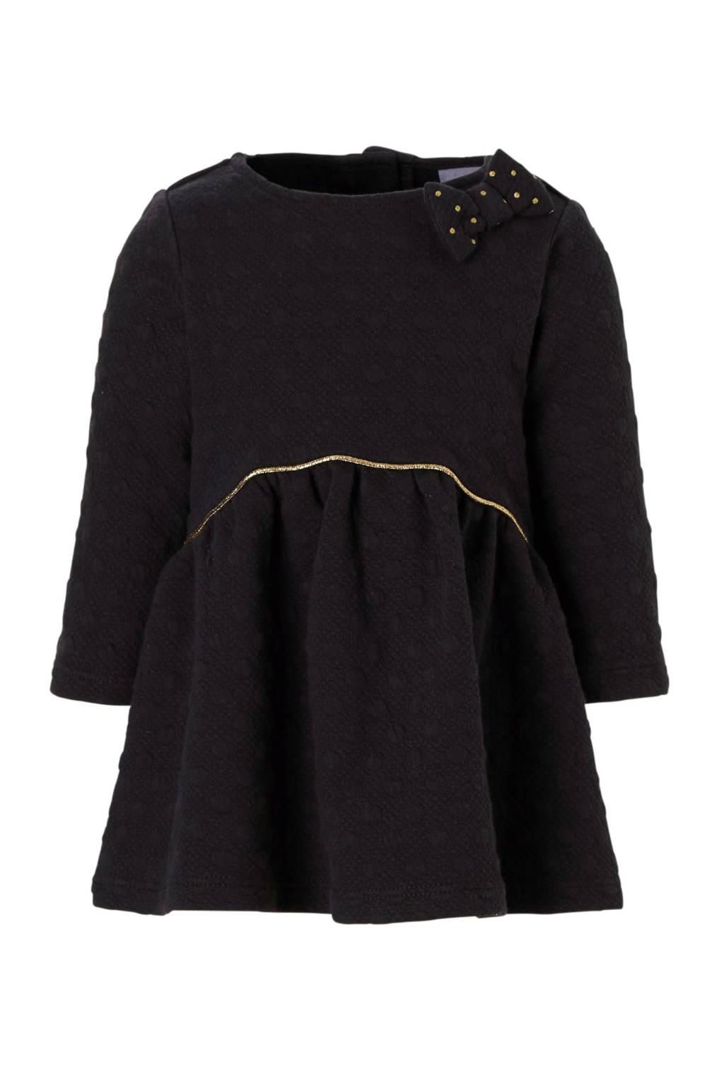 C&A Baby Club jurk met stippentextuur zwart, Zwart