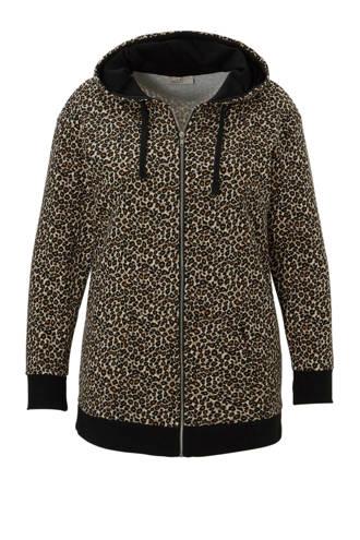 XL Clockhouse sweatvest met luipaard print zwart