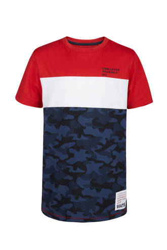 T-shirt met camouflage rood