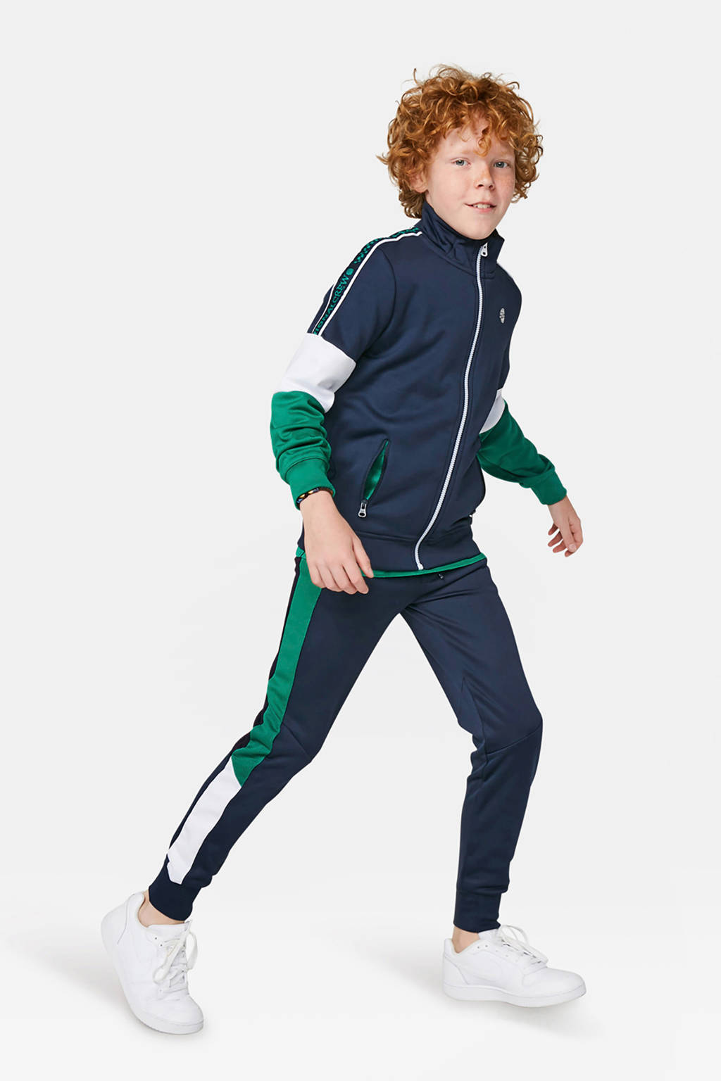 WE Fashion vest donkerblauw/groen/wit, Donkerblauw/groen/wit