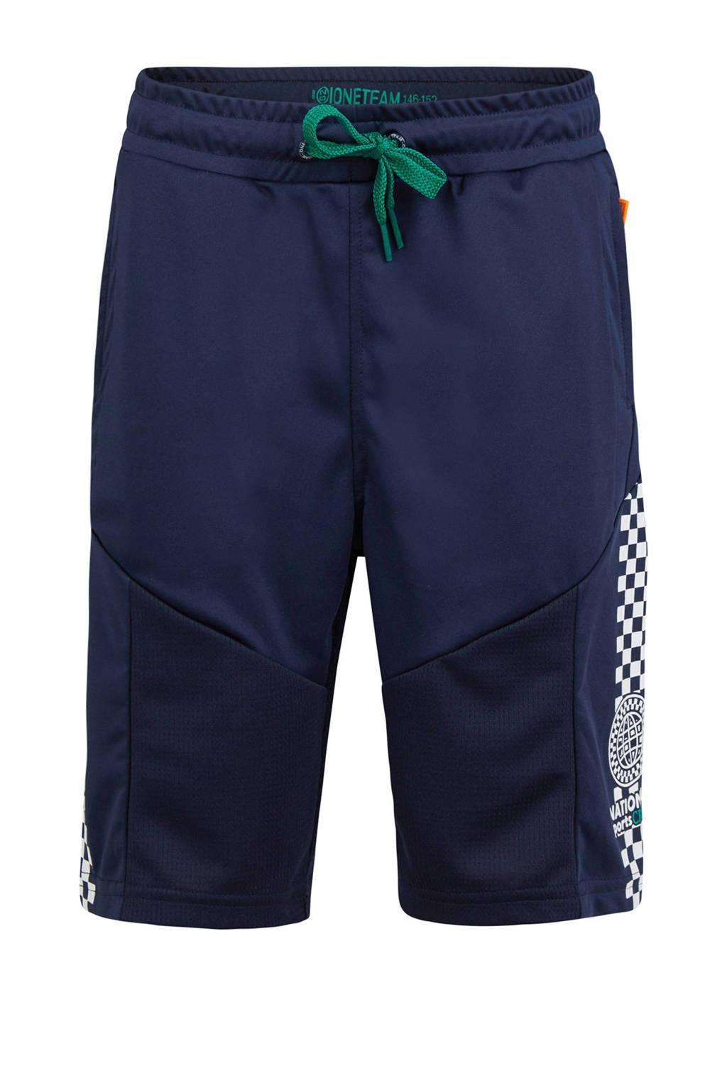 WE Fashion short met zijstreep donkerblauw, Donkerblauw