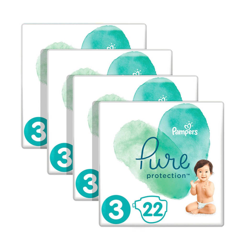Pampers Pure Protection maat 3 (6-10kg) 88 luiers, 3 (6-10 kg)
