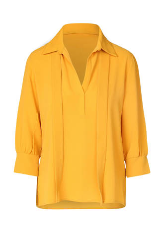 fijn geweven blouse geel