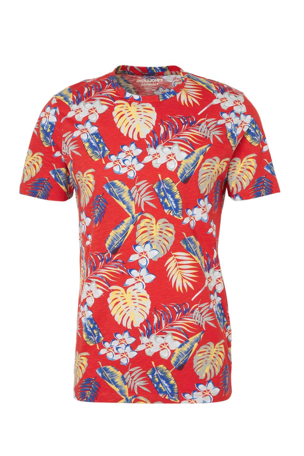 Jack & Jones Originals T-shirt met all over print, Rood