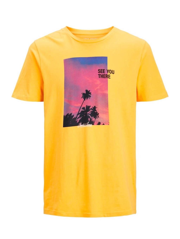 JACK & JONES PLUS SIZE T-shirt met printopdruk geel, Geel