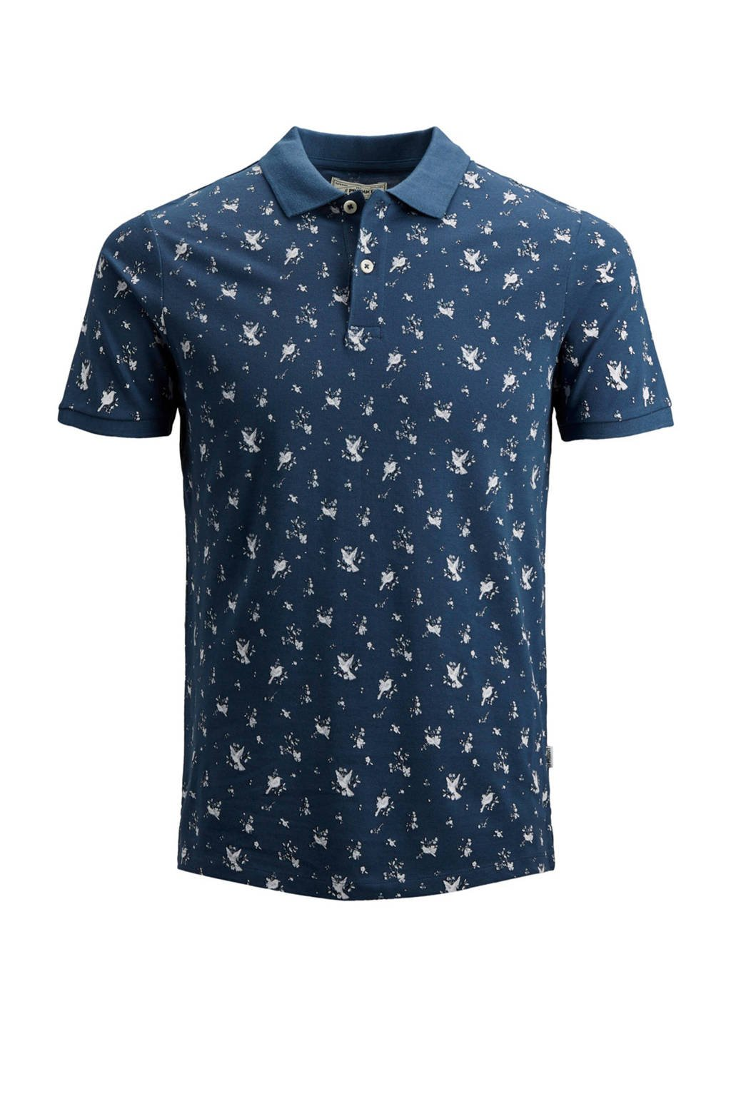 PRODUKT polo slim fit, Donkerblauw/wit
