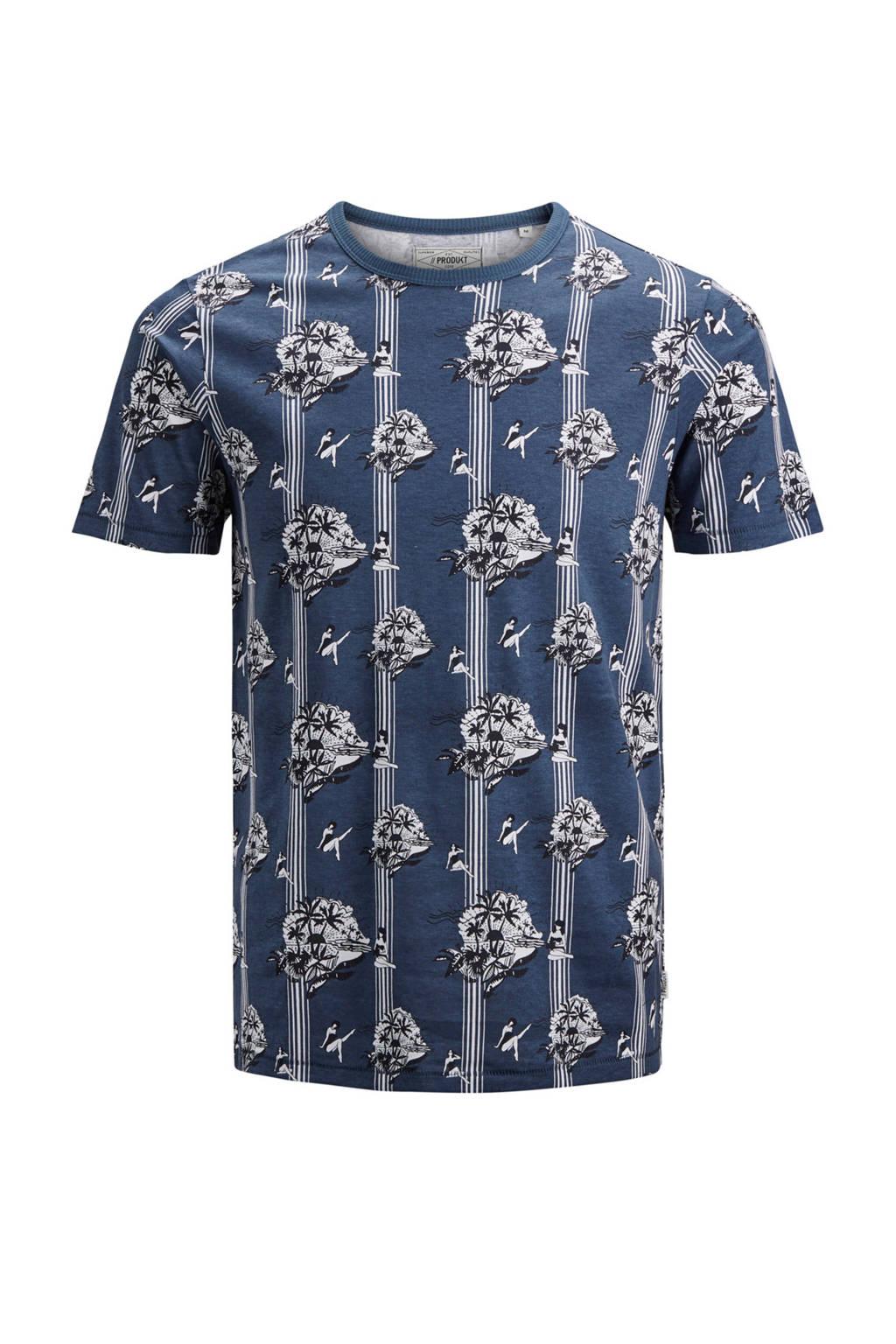 PRODUKT T-shirt met print, Marine/wit