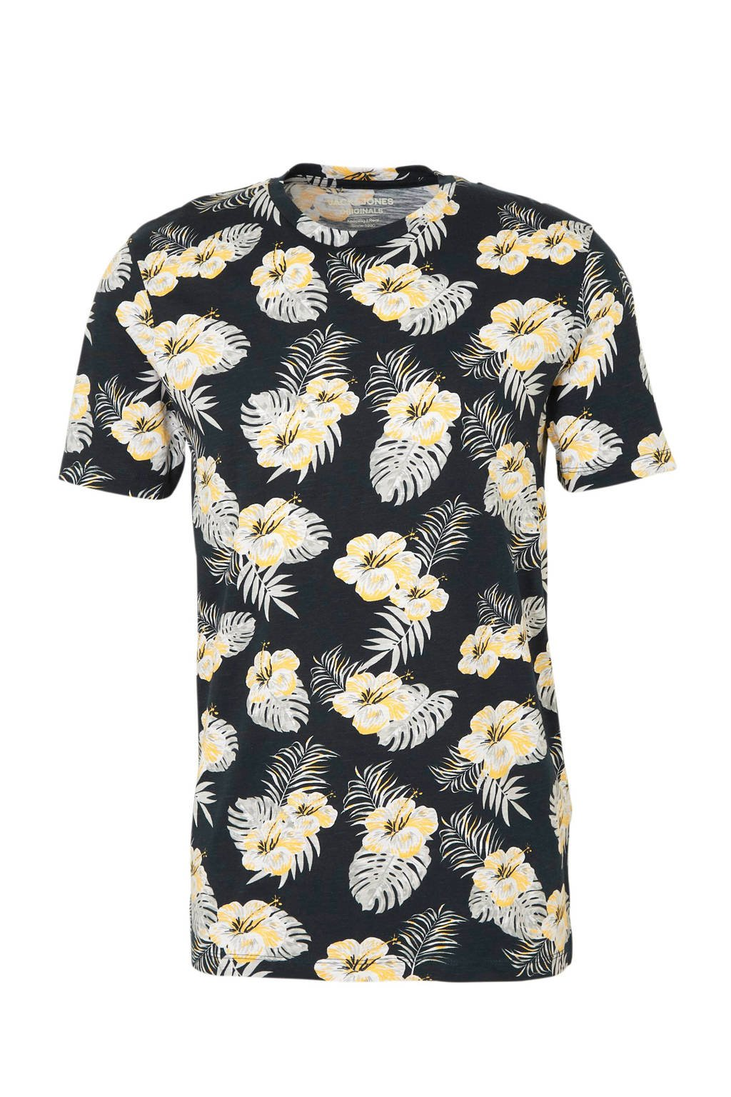 JACK & JONES ORIGINALS T-shirt met all over print donkerblauw, Donkerblauw
