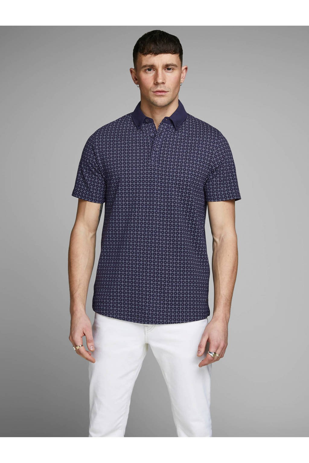 JACK & JONES PREMIUM slim fit polo met print, Marine