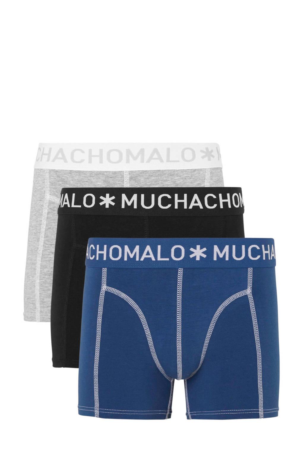 Muchachomalo   boxershort - set van 3, Blauw/Grijs/Zwart
