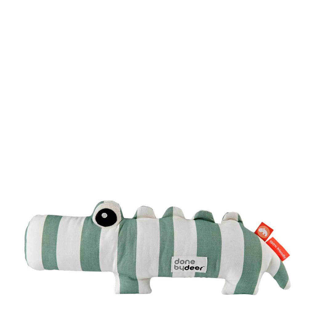 Done by Deer knuffel krokodil Croco knuffel 38 cm, Groen/wit