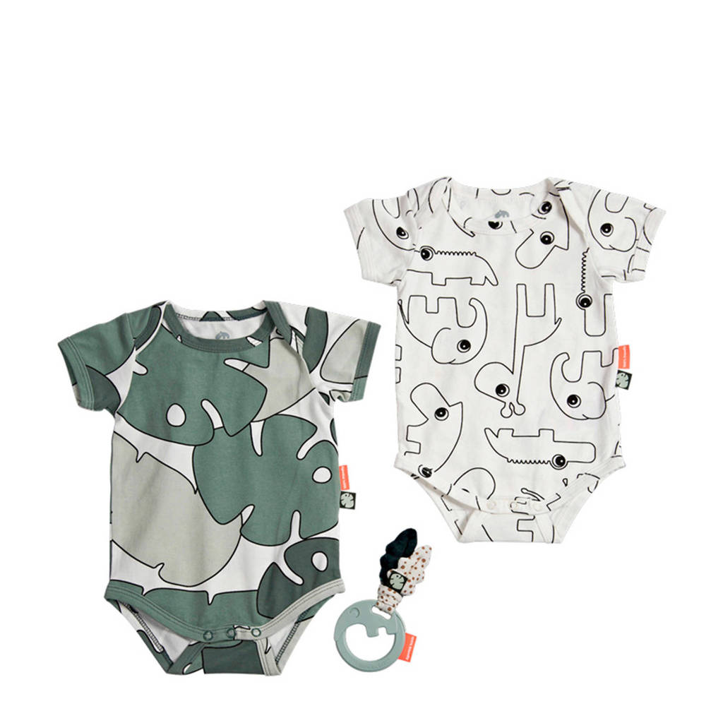 Done by Deer baby Tiny tropics romper maat 56/62 - set van 2, Groen/wit/zwart