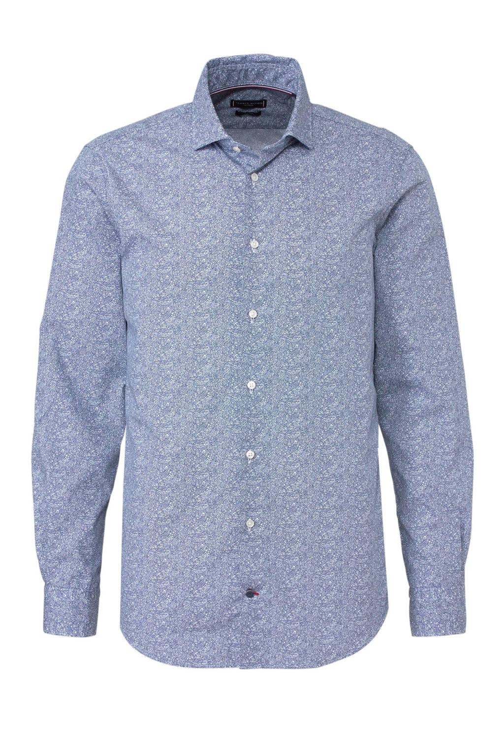 Tommy Hilfiger Tailored slim fit overhemd met print blauw, Blauw/wit