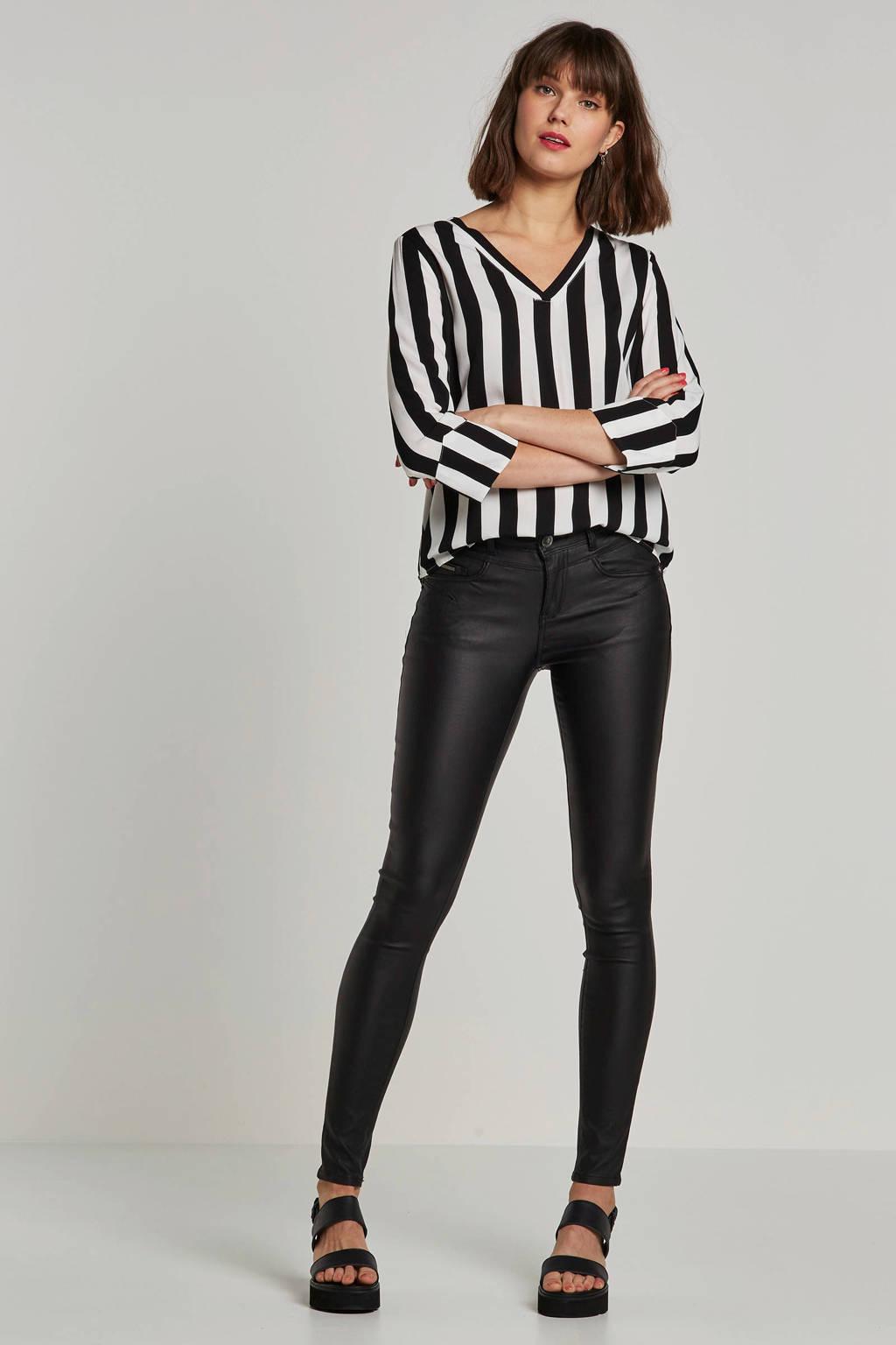 Il Dolce skinny fit coated jeans Zoe, Zwart