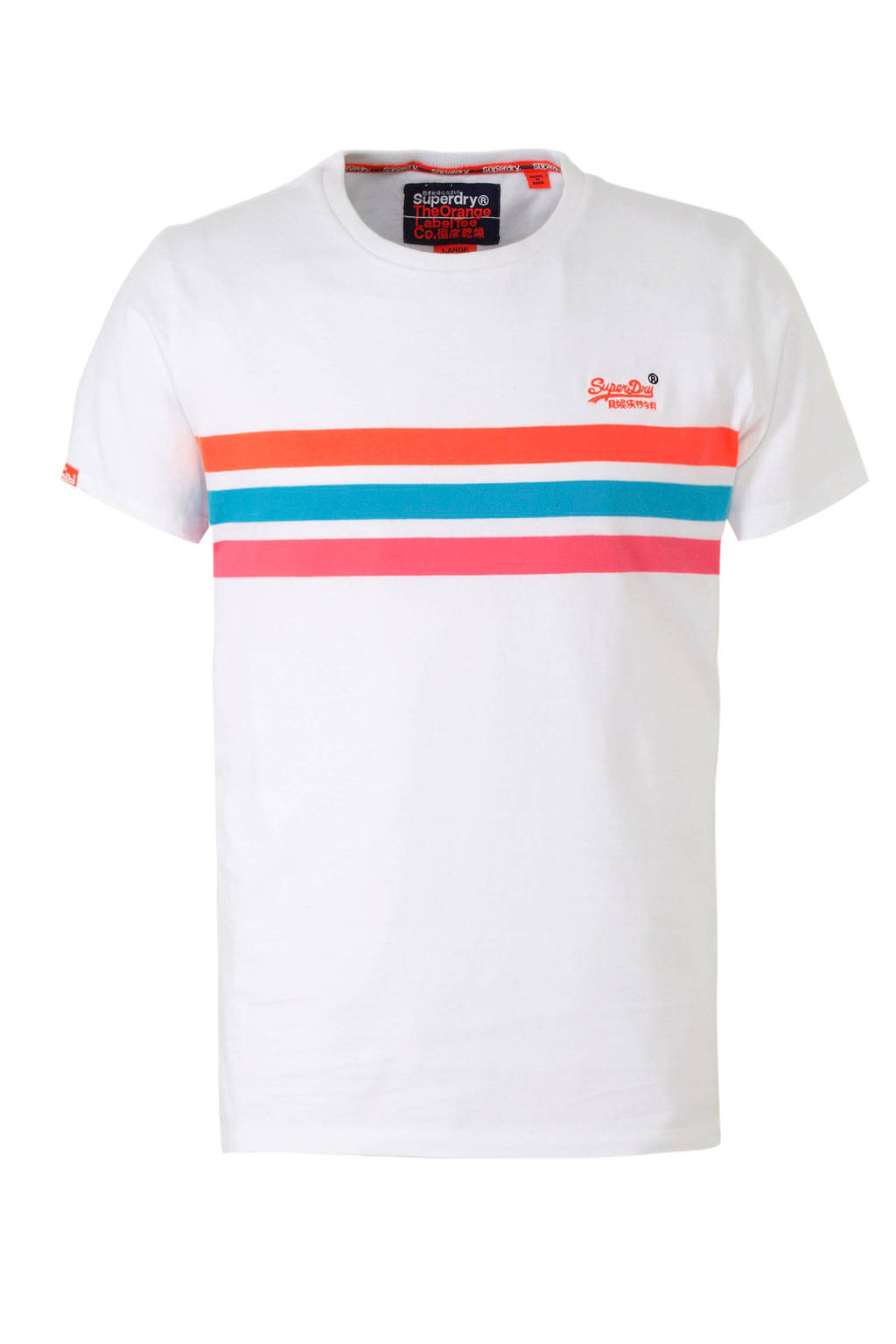 Superdry T-shirt met strepen, Wit