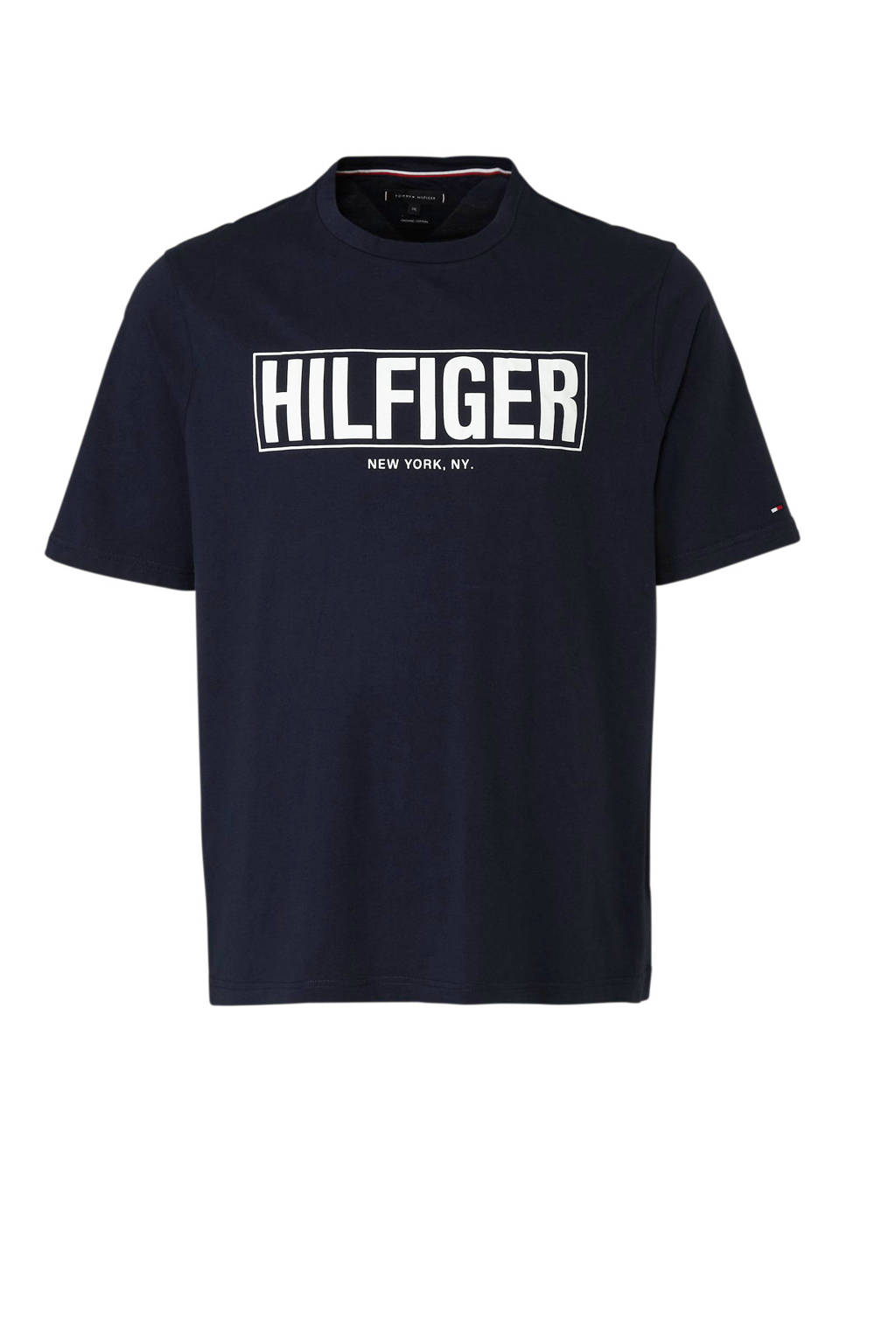 Tommy Hilfiger Big & Tall +size T-shirt met logo, Donkerblauw