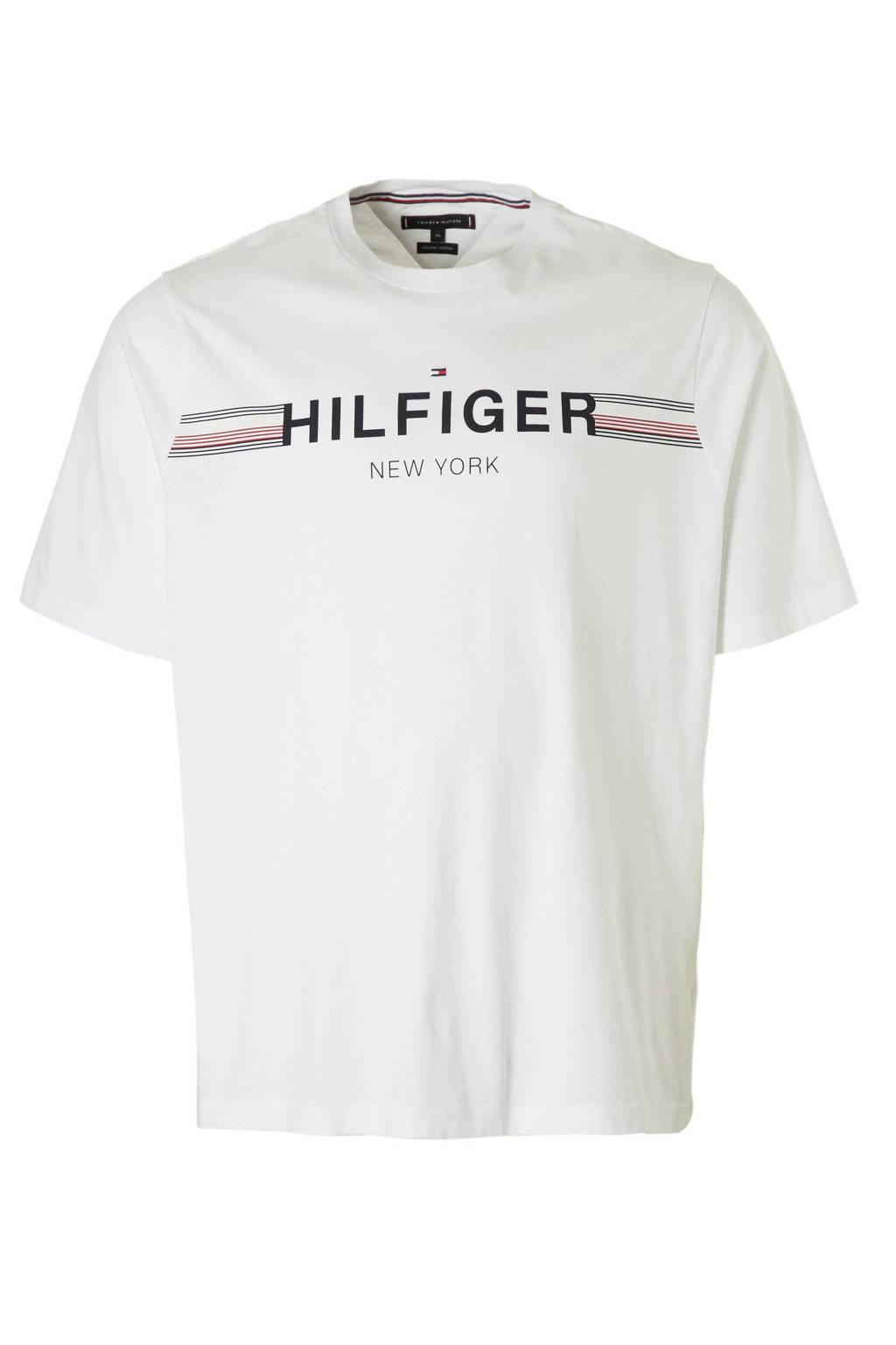 Tommy Hilfiger Big & Tall +size T-shirt met logo, Wit