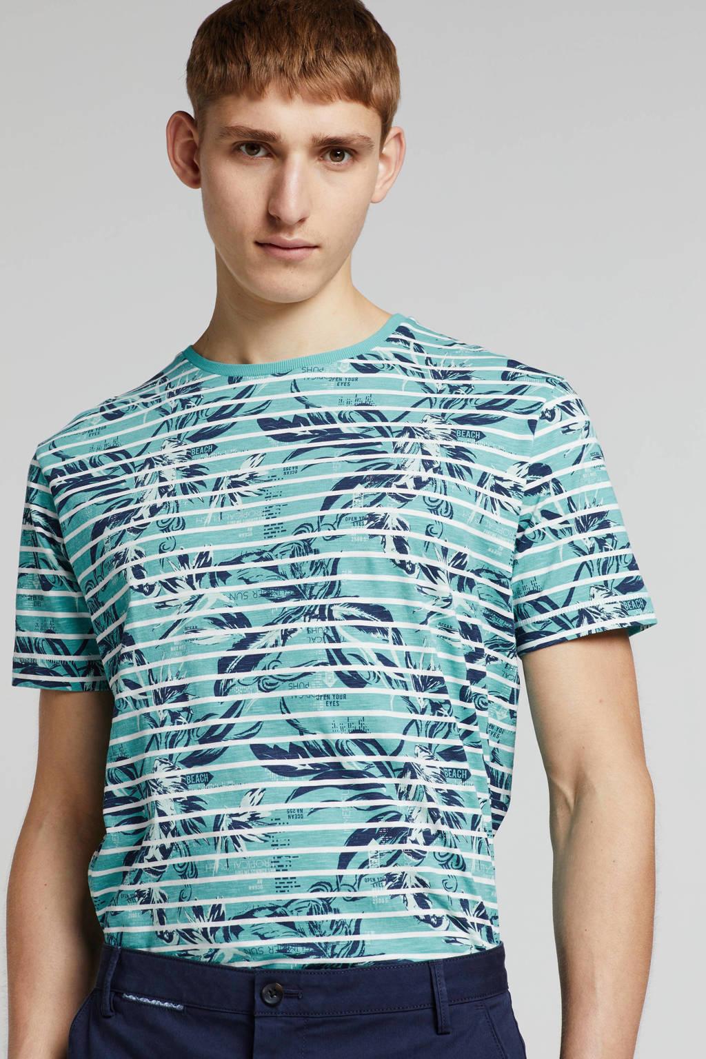 Lerros T-shirt met all over print, Blauw