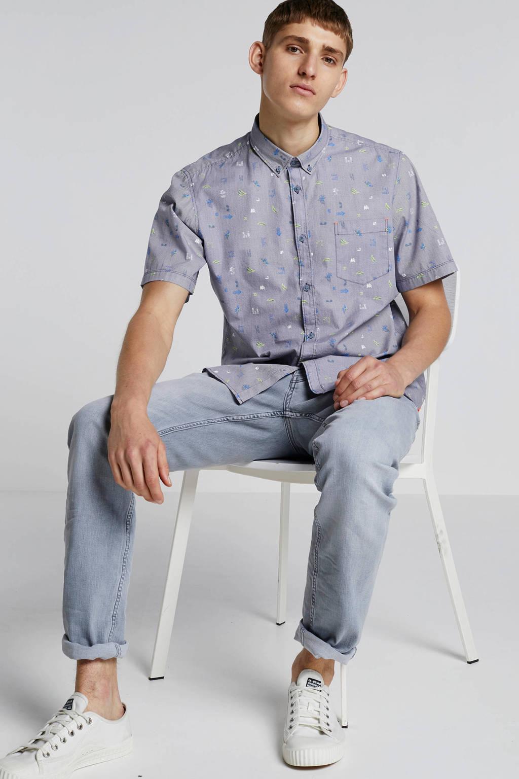 Lerros overhemd met all over print, Grijs