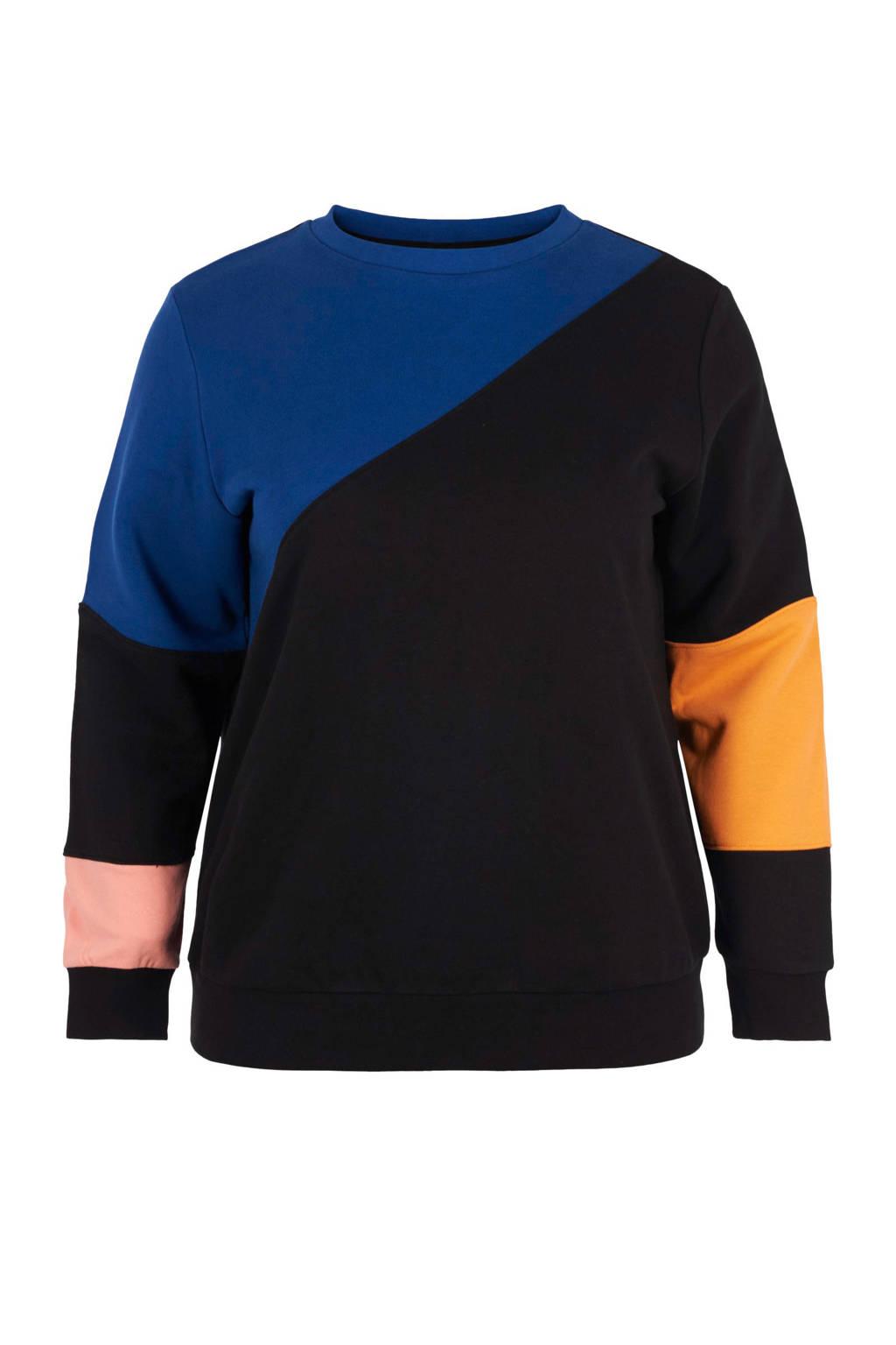 ACTIVE By Zizzi sportsweater zwart, Zwart/blauw/geel/roze