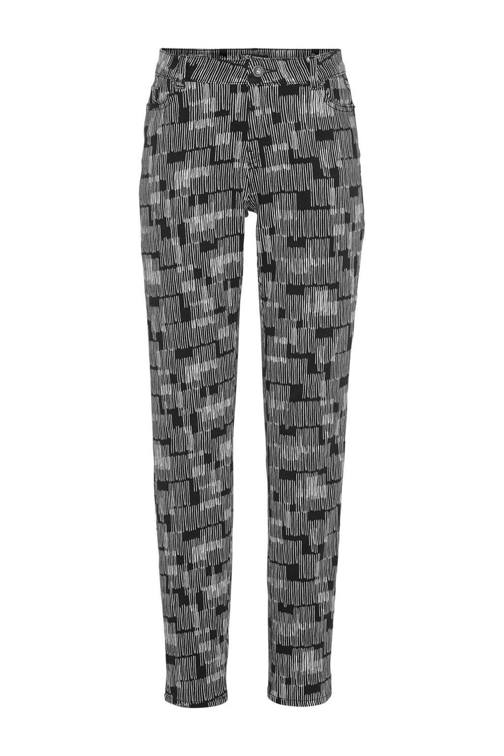 Didi  skinny broek met allover print zwart, Zwart