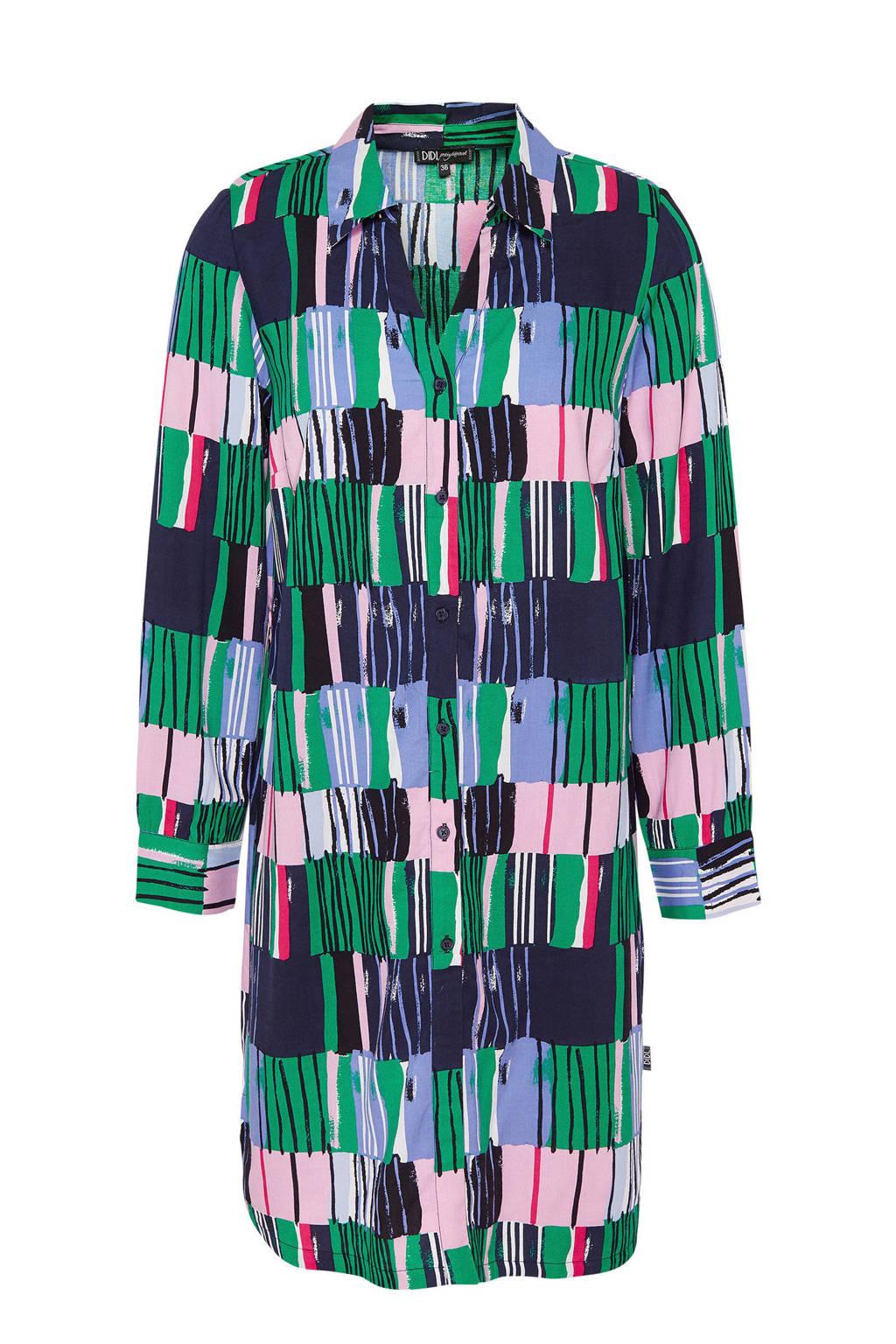 Didi blouse tuniek met all over print groen, Groen/ Multi-kleur