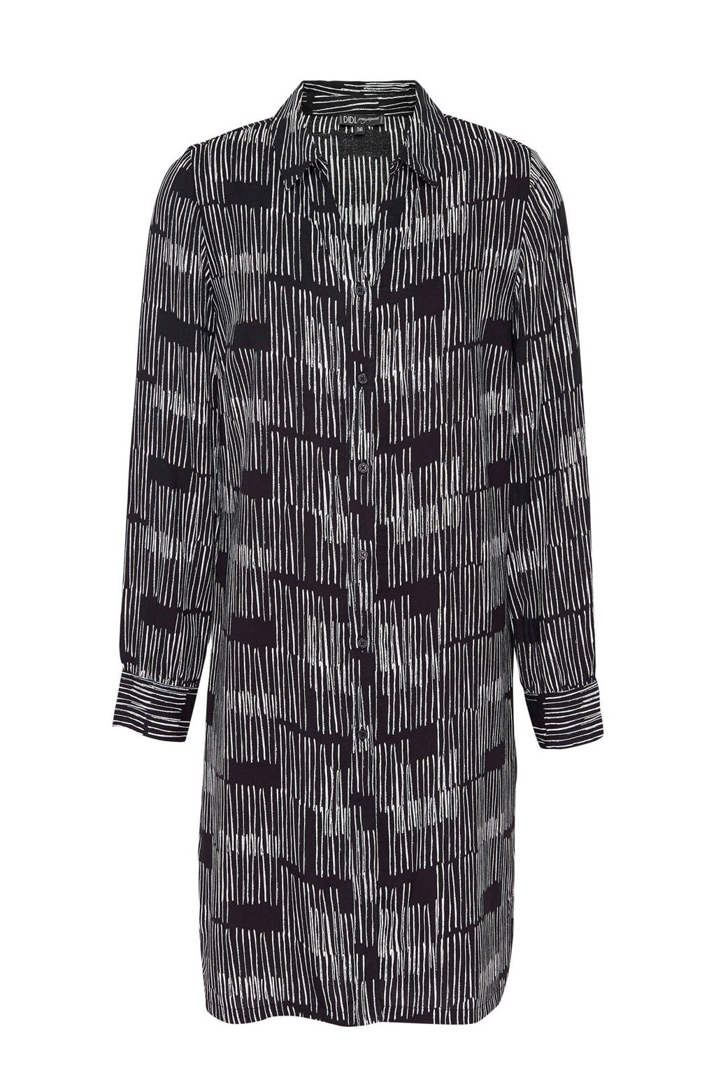 Didi blouse tuniek met all over print zwart, Zwart/ ecru