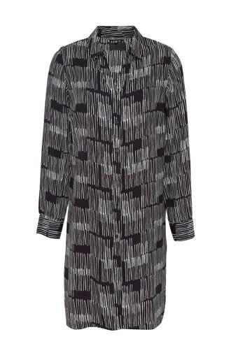 blouse tuniek met all over print zwart