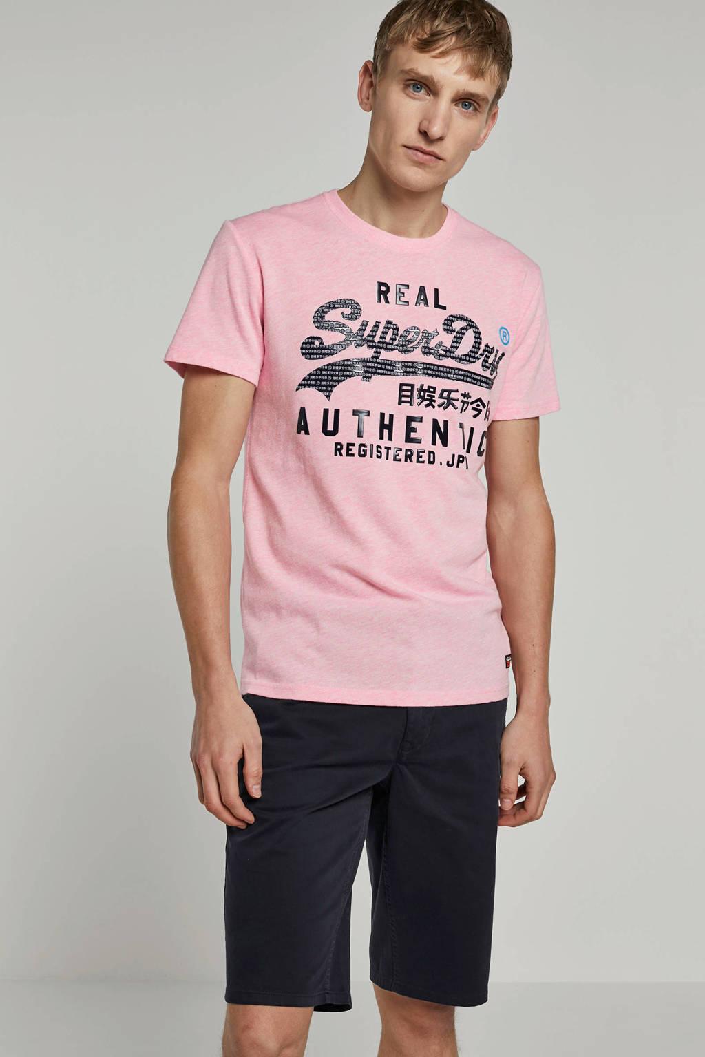Superdry T-shirt met logo, Roze