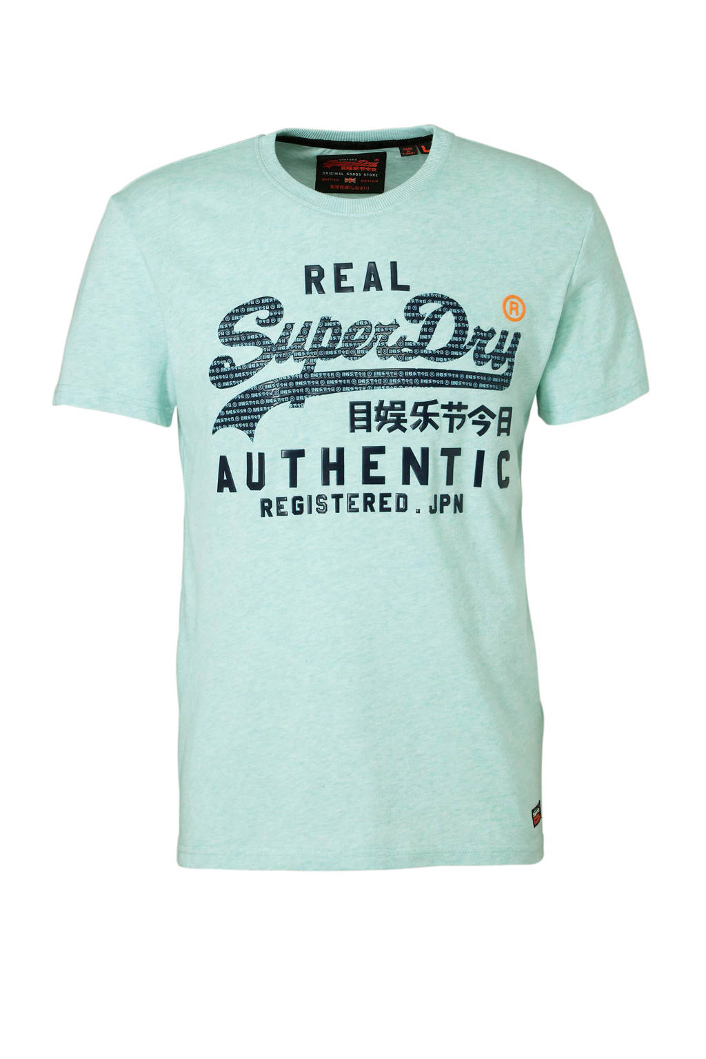 Superdry gemêleerd T-shirt met tekst, Mintgroen