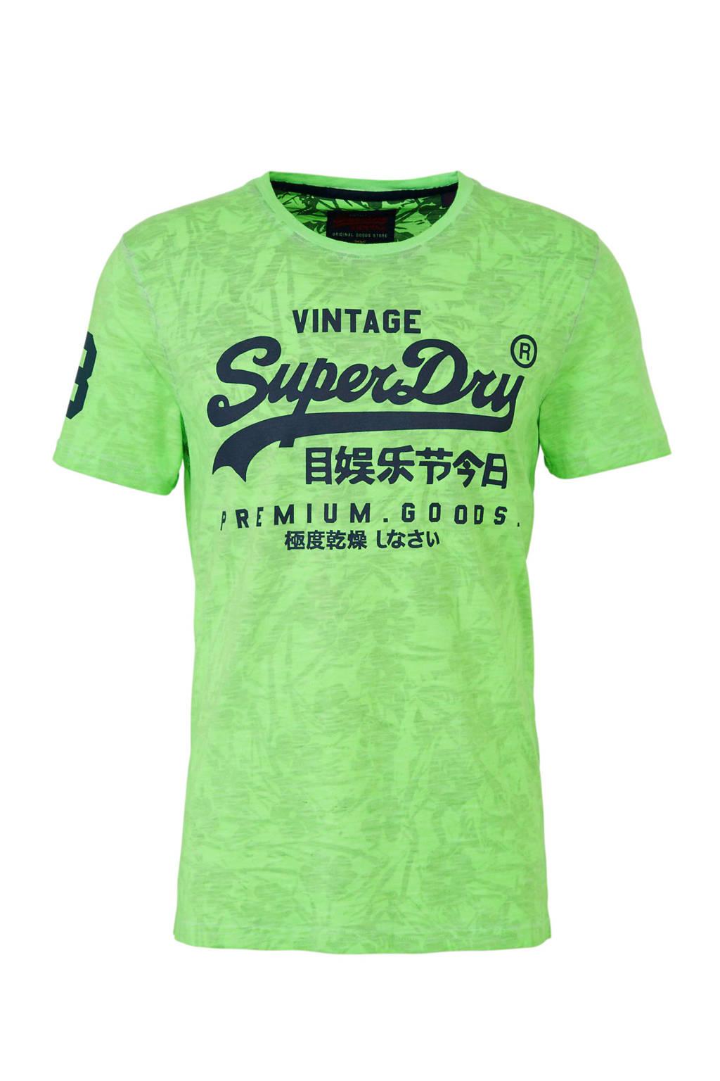 Superdry T-shirt met logo groen, Groen