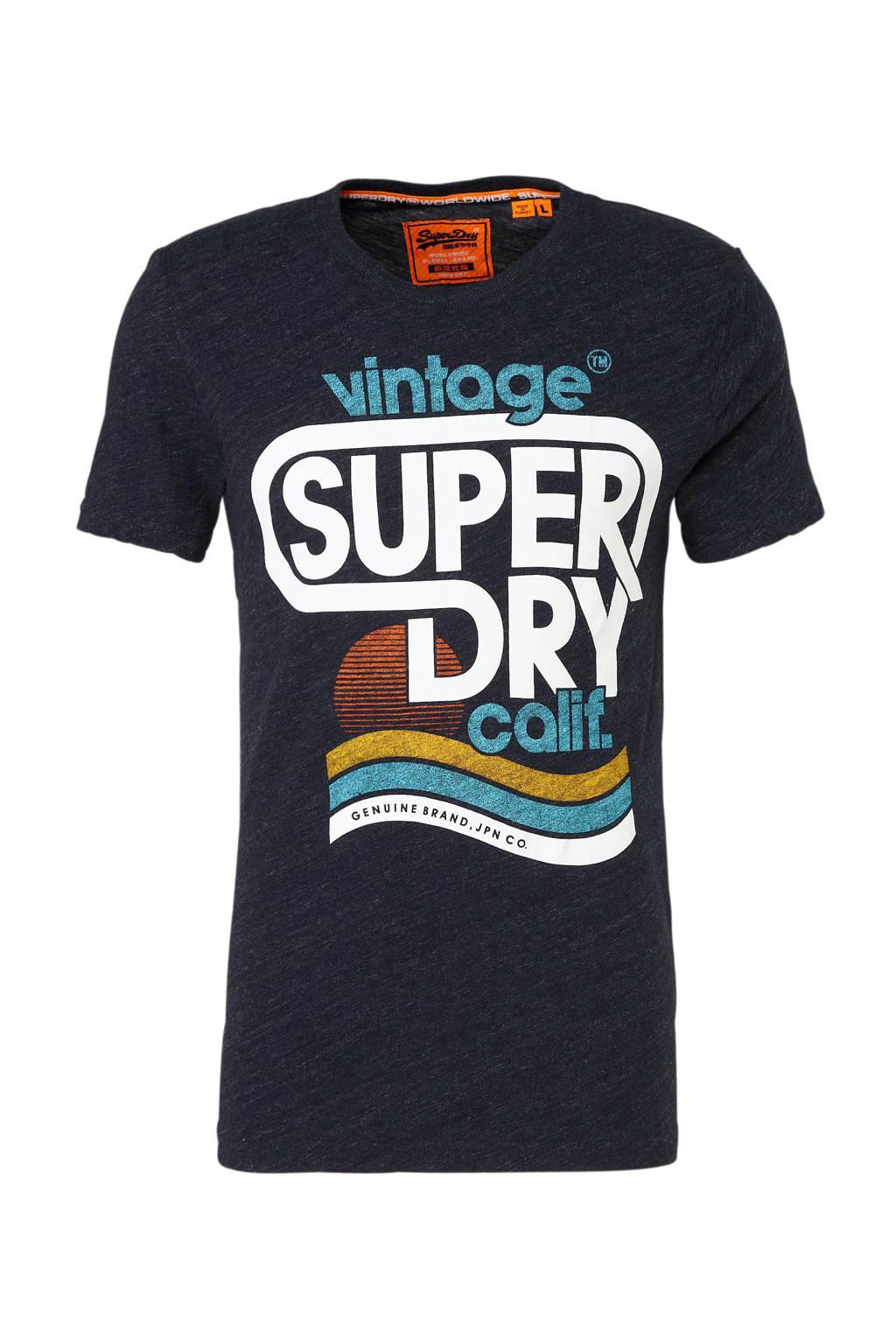 Superdry gemêleerd T-shirt met printopdruk, Marine