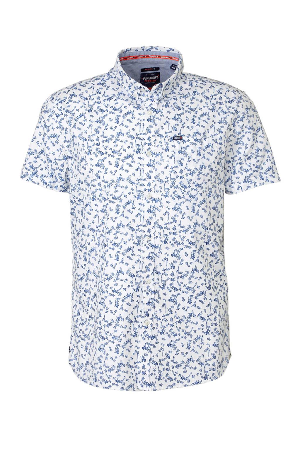 Superdry overhemd korte mouw, Wit/blauw