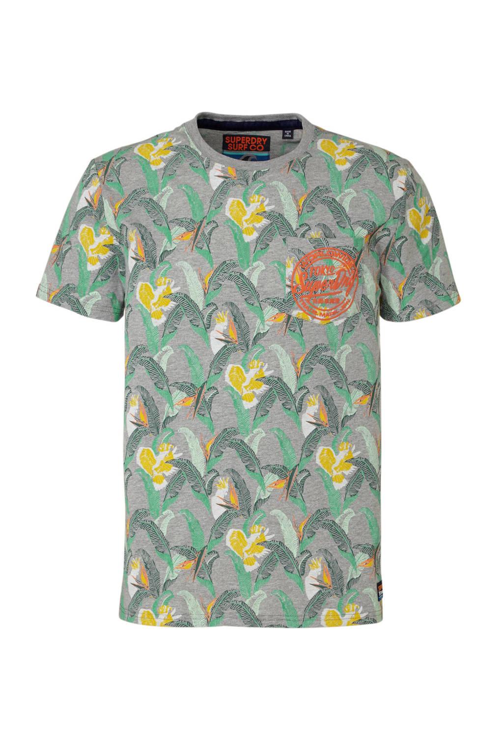 Superdry gemêleerd T-shirt met print grijs, Grijs