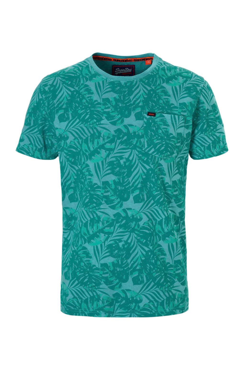 Superdry T-shirt alloverprint, Blauw