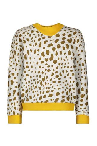 sweater met panterprint ecru
