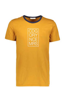 Sissy-Boy T-shirt met tekstopdruk oker