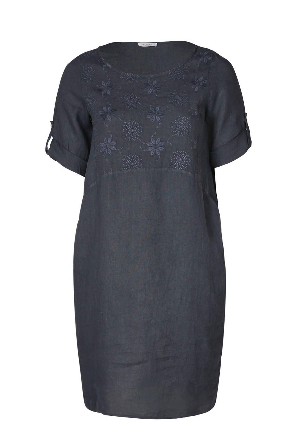 Paprika jurk met borduursels, Marineblauw