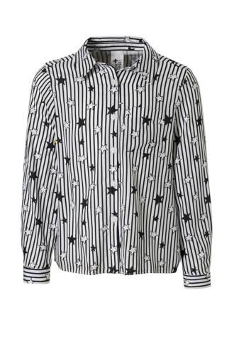 Here & There gestreepte blouse met sterren wit