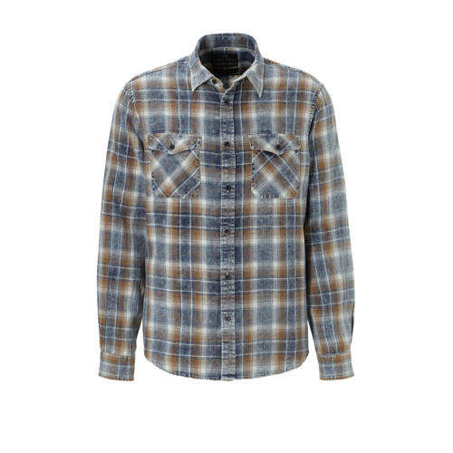 C&A Angelo Litrico geruit slim fit overhemd blauw