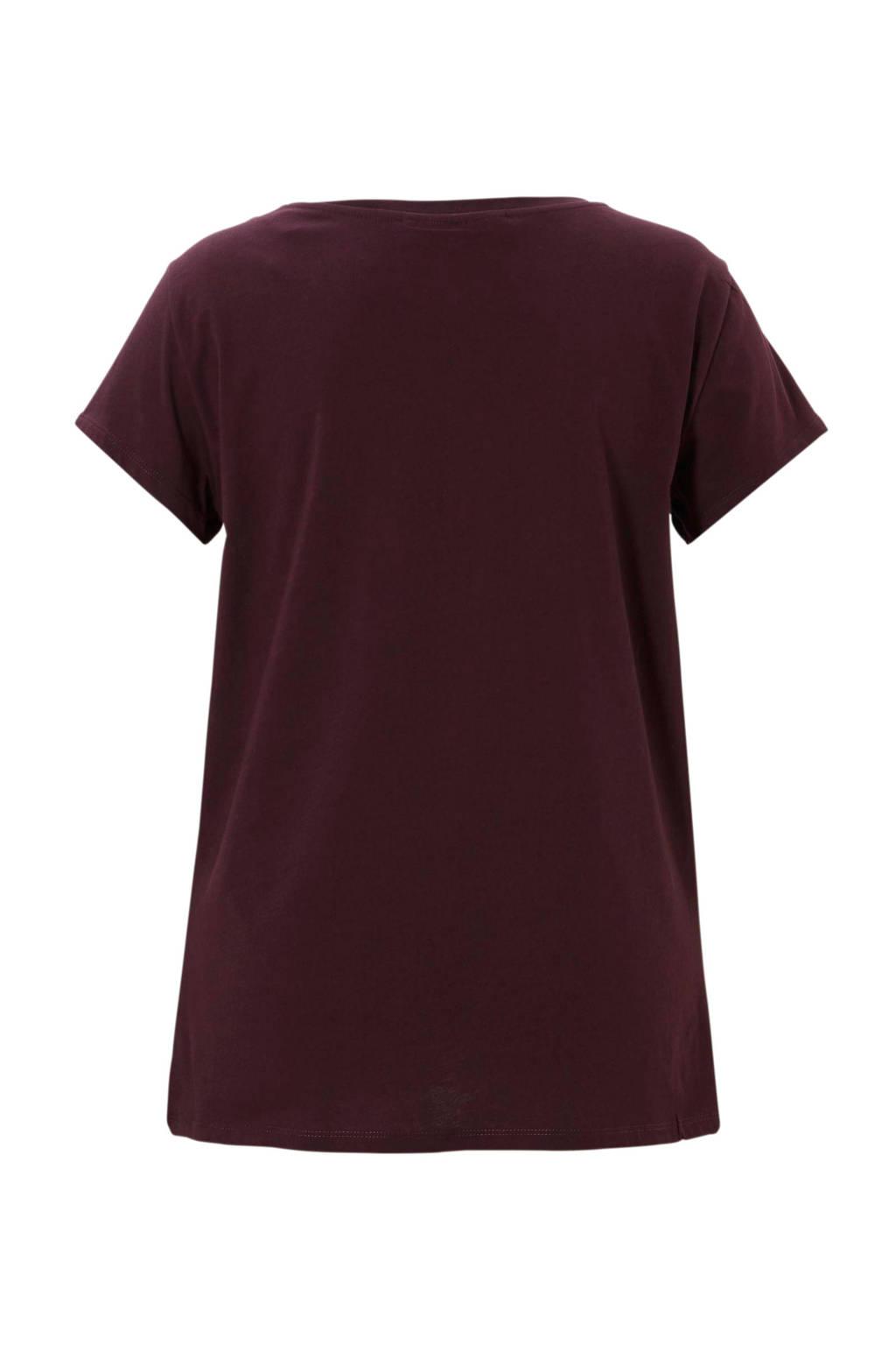 amp;axl T Met shirt Clockhouse Bordeaux C Borduursel OPqFwdw