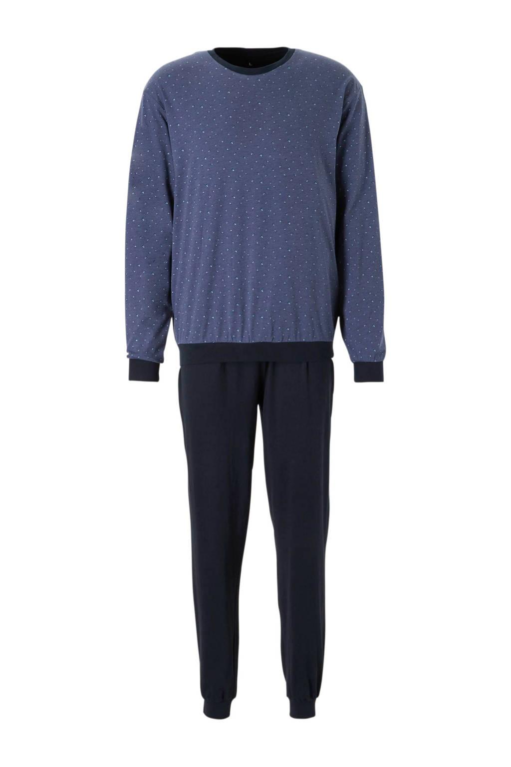 C&A Canda pyjama met print blauw, Blauw/donkerblauw