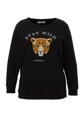XL Clockhouse sweater met tekstopdruk en borduursel zwart