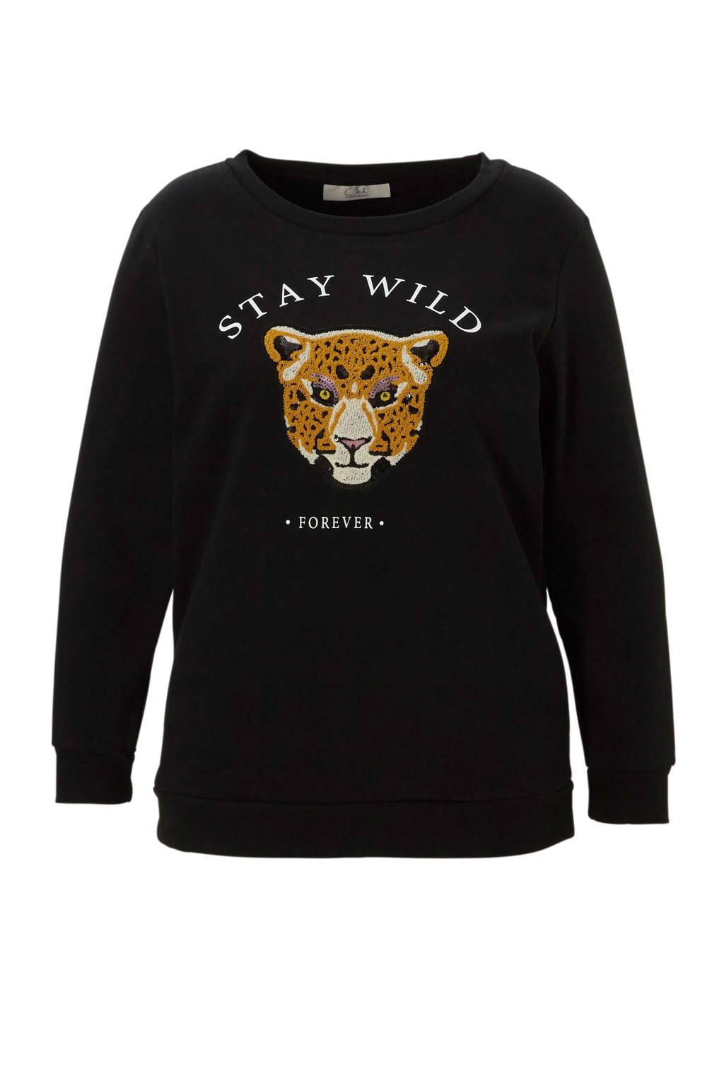 C&A XL Clockhouse sweater met tekstopdruk en borduursel zwart, Zwart/ Oker/ Beige/ Roze/ Wit