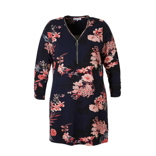 Zhenzi tuniek met bloemen donkerblauw