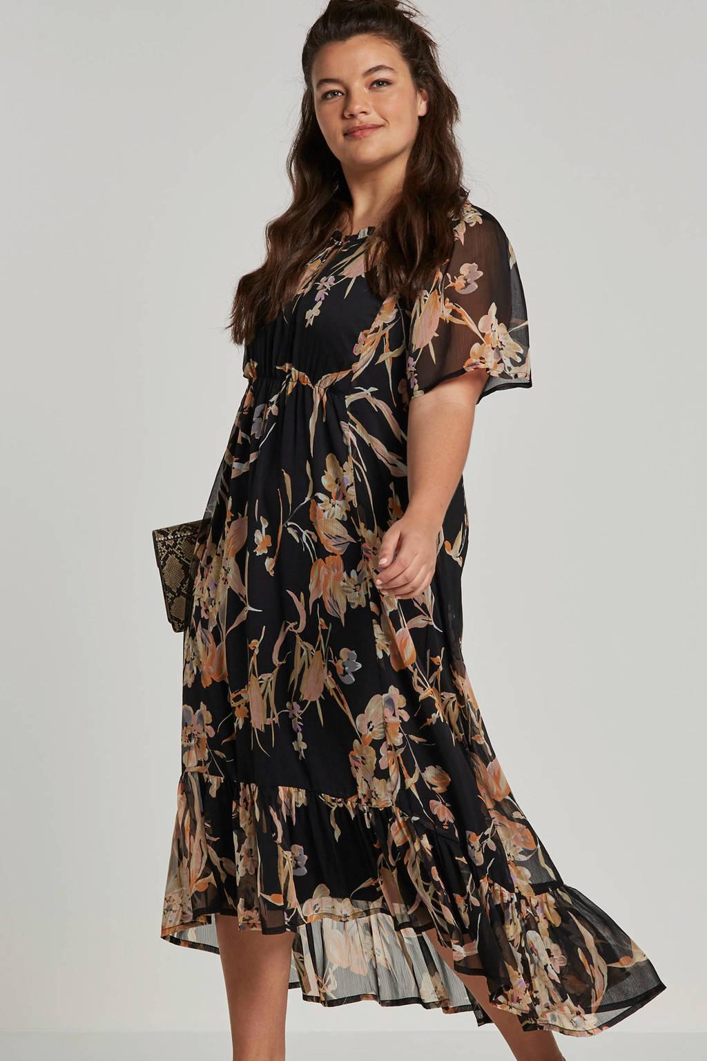 Zhenzi jurk met bloemen en mesh zwart, Zwart/beige