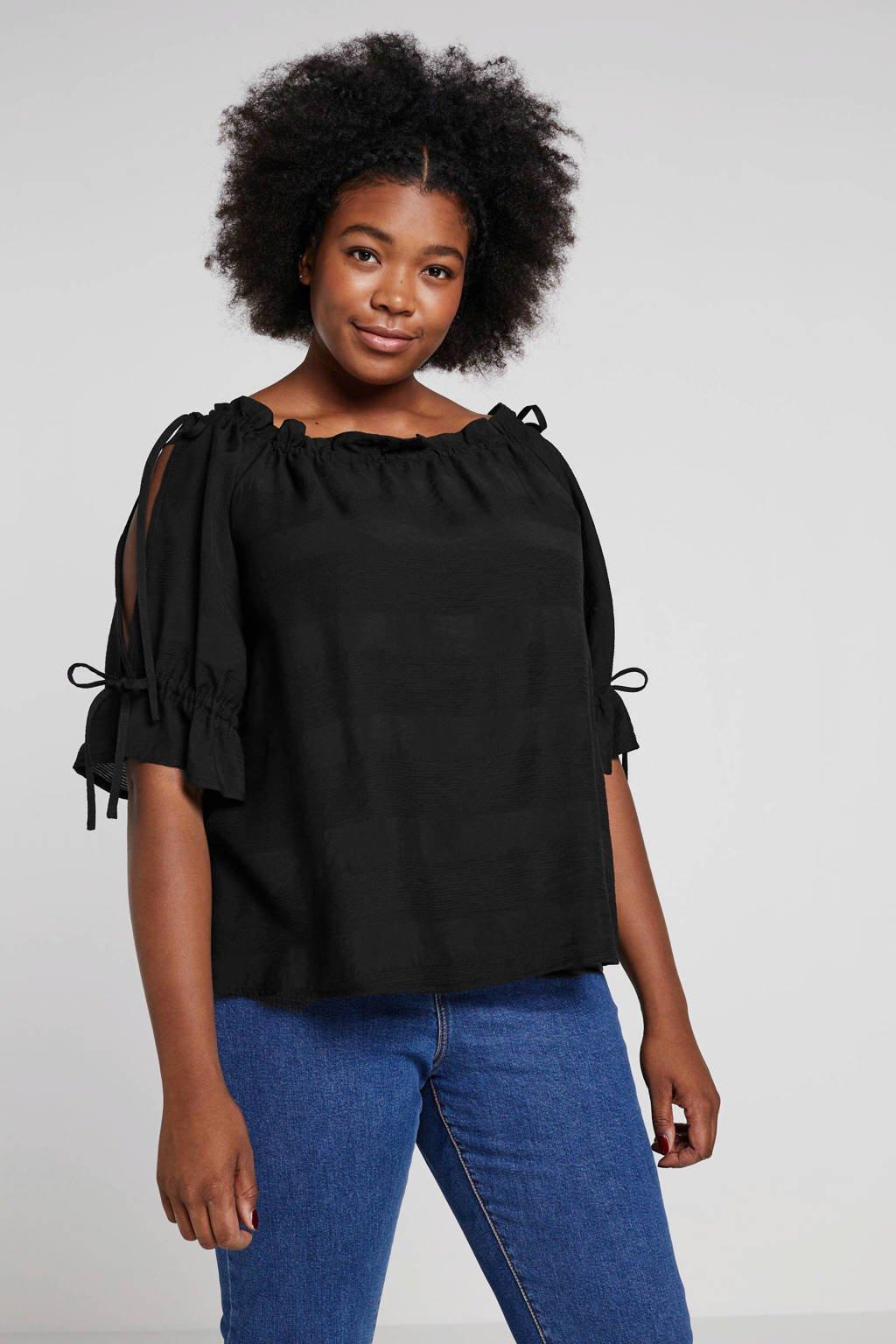 Lost Ink Plus off shoulder top met open detail zwart, Zwart