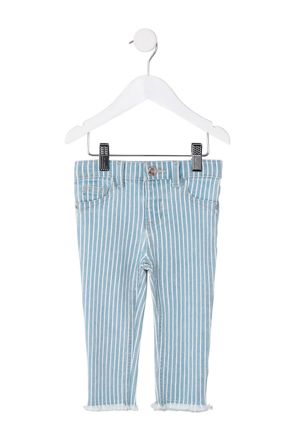 River Island gestreepte skinny fit broek lichtblauw, Lichtblauw/wit