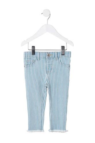gestreepte skinny fit broek lichtblauw