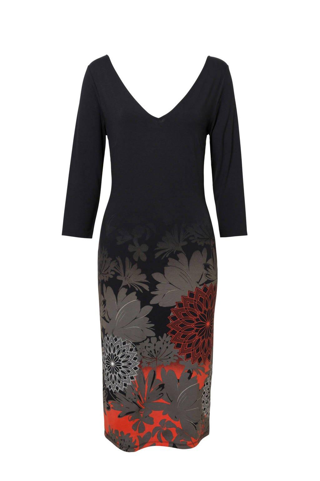 Desigual jurk met bloemenprint zwart, Zwart
